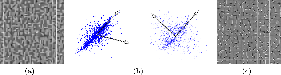 Fig. 1: (a) Centroids learned by K-means from natural images without whitening. (b) A cartoon depicting the effect of whitening on the K-means solution. Left: unwhitened data, where the centroids tend to be biased by the correlated data. Right: whitened data, where centroids are more orthogonal. (c) Centroids learned from whitened image patches.