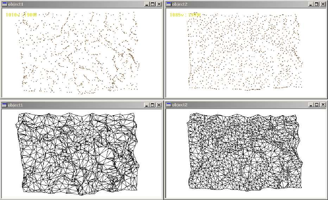 Figure 8: Selecting ∼ 1000 vertices. Above: VPTS on the left vs. Terra on the right. Below: The corresponding triangulations.