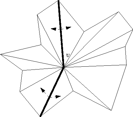Figure 3: In order to determine if the two highlighted ridges should be joined by an arc in the ridge network we examine the neighbors of vertex v to see if there is flow from one side to the other of the two-ridge chain.