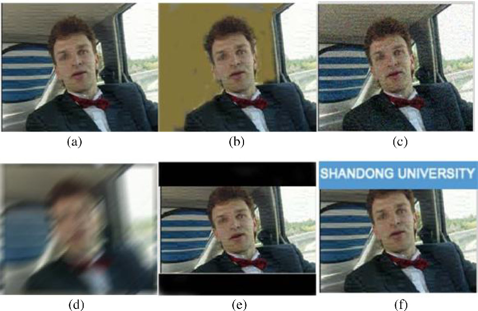 Fig. 3 Comparisons between original video frame and the frames with various video attacks