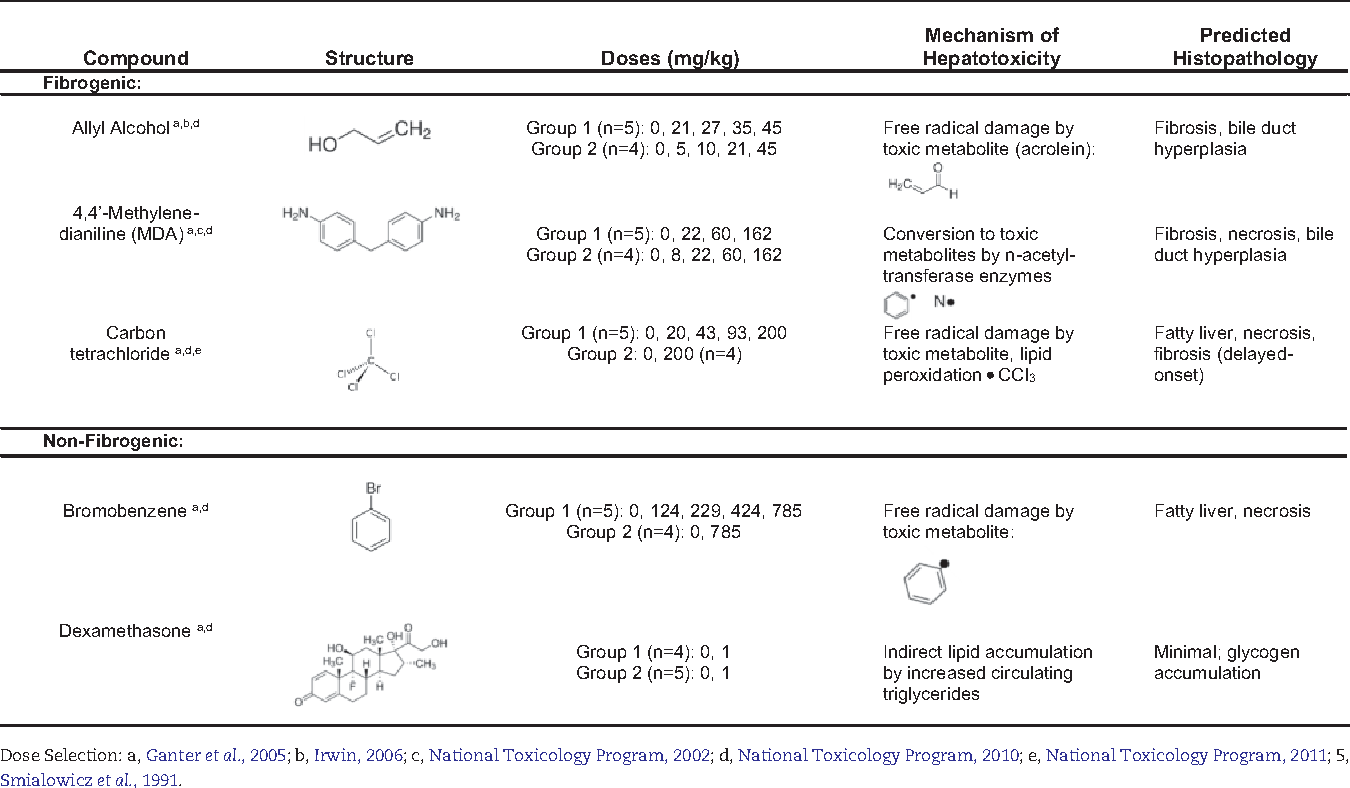 TABLE 1. Compound-Dose Groups and Presumptive Mechanisms of Toxicity After Oral Exposure in Rats