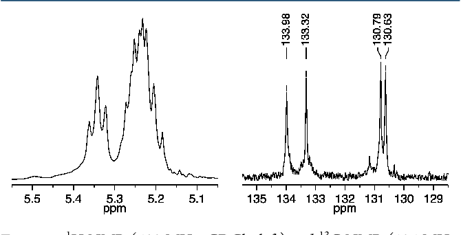 Figure 8. 1H NMR (500 MHz, CDCl3, left) and 13C NMR (125 MHz, CDCl3, right) spectra of cis,syndiotactic-poly(A2-alt-B3) (olefinic resonances only).
