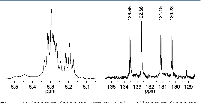 Figure 12. 1H NMR (500 MHz, CDCl3, left) and 13C NMR (125 MHz, CDCl3, right) spectra of cis,syndiotactic-poly(A3-alt-B2) (olefinic resonances only).
