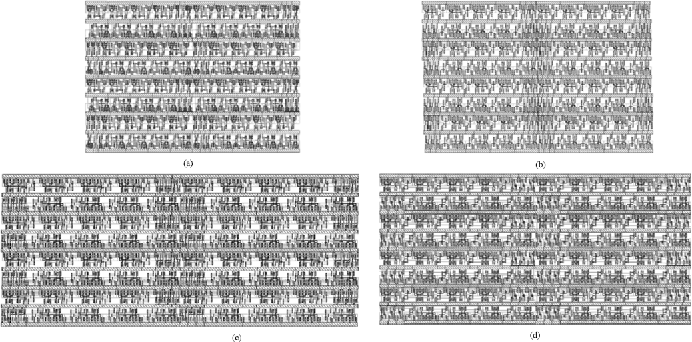 Fig. 14. (a) Layout of a 32-bit carry select adder (bulk CMOS). (b) Layout of a 32-bit carry select adder (3T FinFET). (c) Layout of a 32-bit carry select adder (4T FinFET). (d) Layout of a 32-bit carry select adder (MT FinFET).