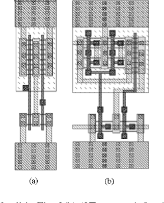 Fig. 9. (a) Layout of cell in Fig. 3(b) (3T spacer-defined FinFET). (b) Layout of cell in Fig. 3(c) (MT spacer-defined FinFET).