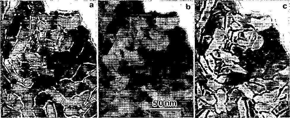 FIG. 1. Bright field TEM images of the Cr underlayer as a function of defocus. The argon pressure for deposition is 12 mTorr. (a) -2600, (b) 0, and (c) +2cioo nm.