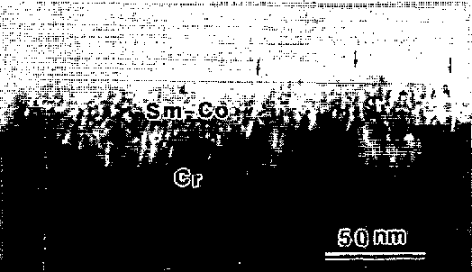 FIG. 8. Cross section view of a Sm-Co film on the Cr underlayer. A few grain boundary gaps are indicated by the arrows.