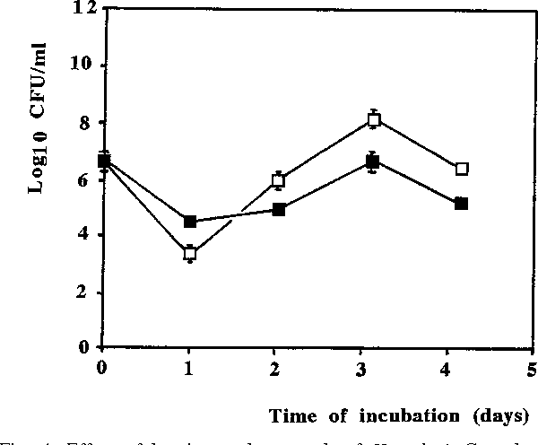 Fig. 4. Effect of hemin on the growth of H. pylori. Growth was monitored in an agitated system and estimated as colony forming units (CFU) per ml. Hemin first slowed but later stimulated growth of H. pylori. Vertical bars indicate standard deviations around the mean in each time point after duplicate sampling of three independent experiments. M------M growth in Brucella broth; N------N growth in Brucella broth with 0.1% hemin.
