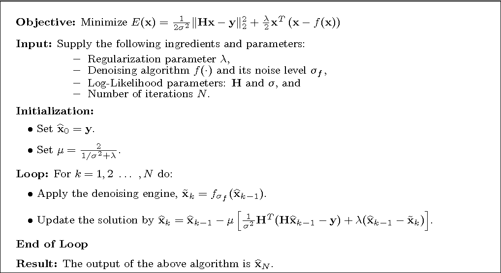 Figure 1 for The Little Engine that Could: Regularization by Denoising (RED)