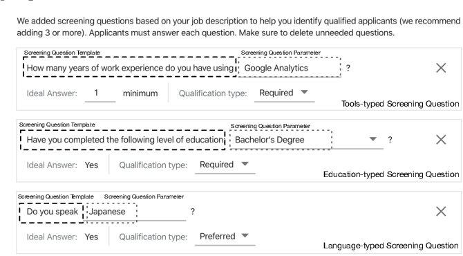Figure 1 for Learning to Ask Screening Questions for Job Postings