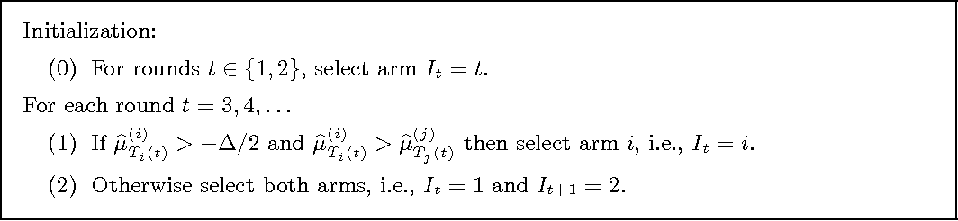 Figure 1 for Bounded regret in stochastic multi-armed bandits