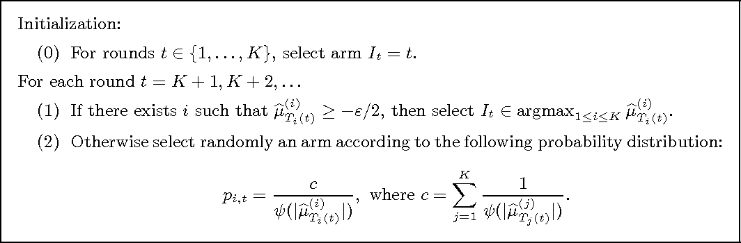 Figure 2 for Bounded regret in stochastic multi-armed bandits