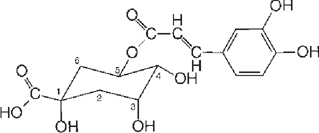 FIGURE 1. Structure of 5-caffeoylquinic acid, which shows the preferred IUPAC (International Union of Pure Applied Chemistry) numbering for the quinic acid residue.