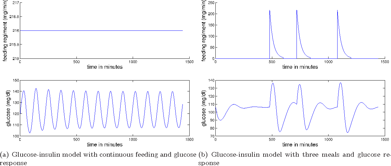 Figure 1. Depicted above are: (a) the glucose for the standard glucose-insulin model with continuous feeding; and (b) the glucose for the standard glucose-insulin model with realistic meal structure.