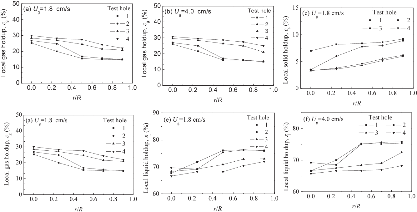 Fig 2 Radial distribution characteristics of local phase holdups in CFB