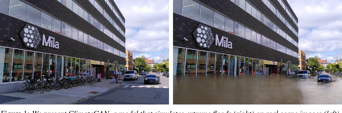 Figure 1 for ClimateGAN: Raising Climate Change Awareness by Generating Images of Floods