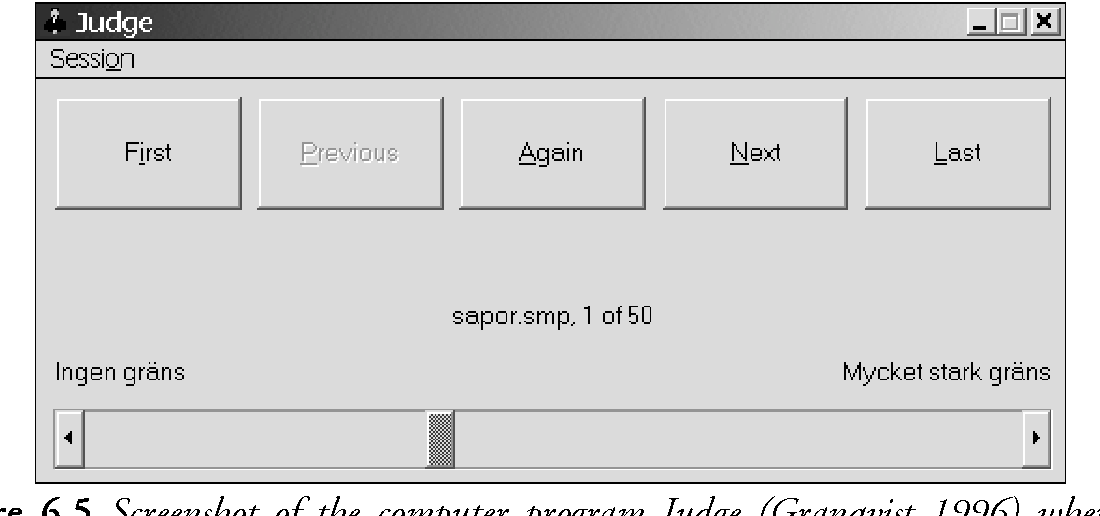 Figure 6.5 Screenshot of the computer program Judge (Granqvist 1996) where the listeners rated the strength of given boundaries by adjusting a scrollbar. The labeled extremes of the scale are: ingen gräns 'no boundary' and mycket stark gräns 'very strong boundary'.