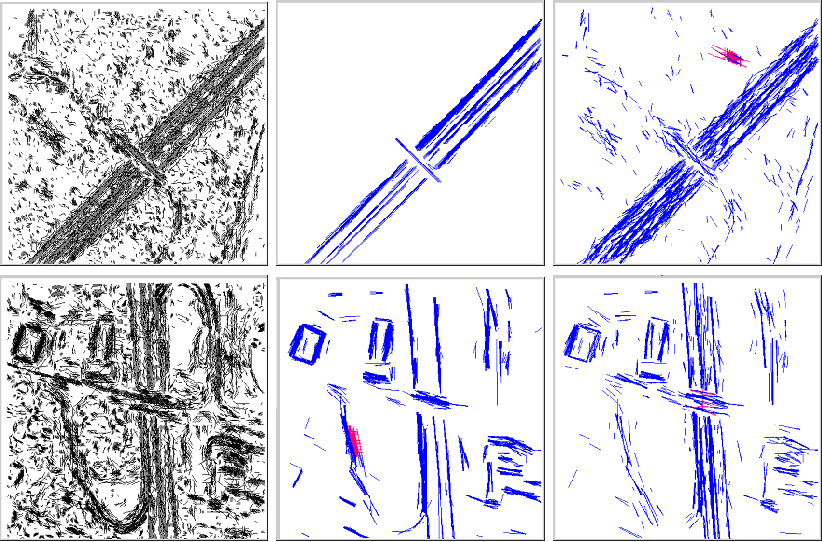 Fig. 2. Left terminal primitives for this image, center result with bottom up control, right result with localized top down control, upper row image 17 lower row image 4
