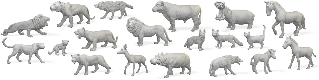 Figure 1 for 3D Menagerie: Modeling the 3D shape and pose of animals