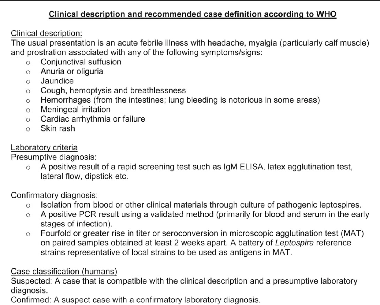 Figure 1. Clinical description and recommended case definition according to the World Health Organization (WHO). Abbreviations: ELISA, enzyme-linked immunosorbent assay; Ig, immunoglobulin; PCR, polymerase chain reaction.