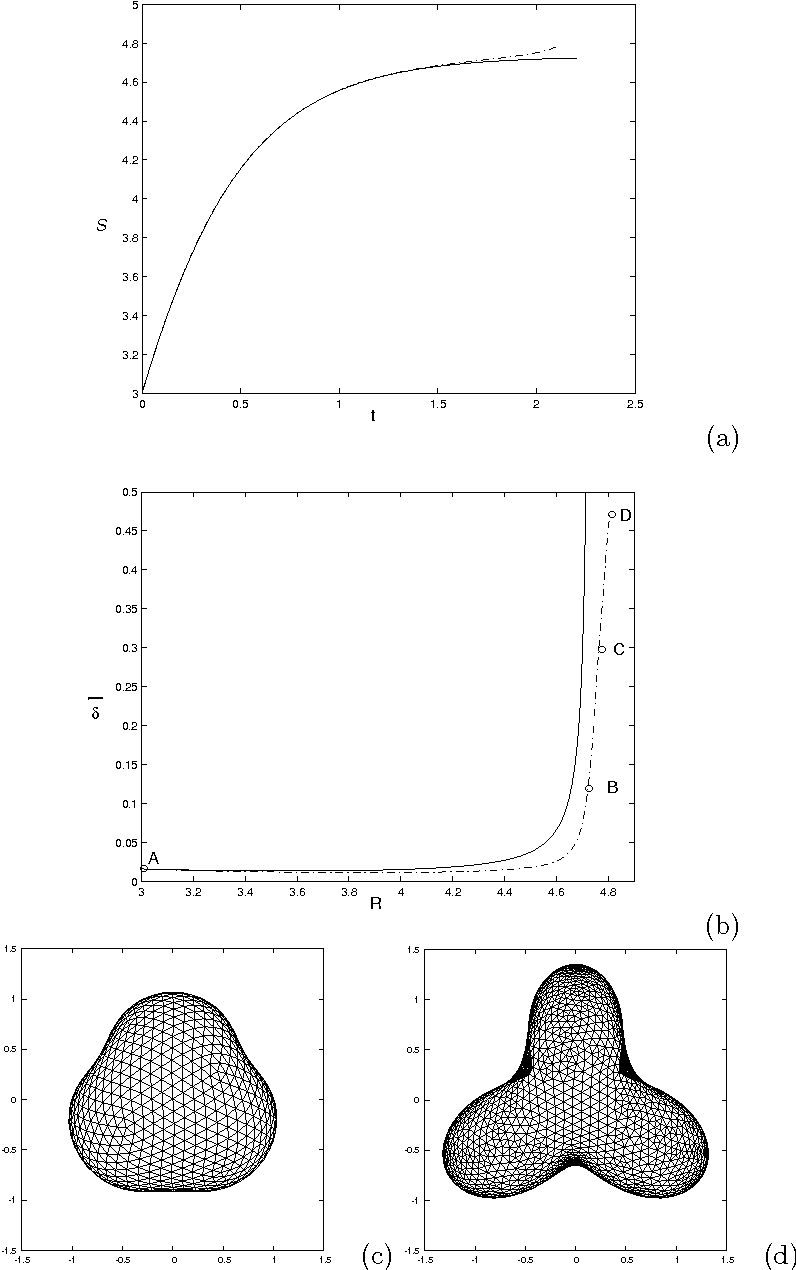 Figure 6. Comparison of linear analysis (Solid) and nonlinear results (Dash-dotted) for the simulation in Fig. 5. (a). The scale factor S(t); (b). The perturbation size δ̄; The circles correspond to the morphologies shown in Fig. 5(a)-(d). (c). Nonlinear tumor morphology at t = 1.88, with S = 4.732 and δ̄ = 0.156; (d). Linear solution morphology (shown with a triangulated mesh) at the same time, S = 4.712 and δ̄ = 0.476. View from the positive y-axis.