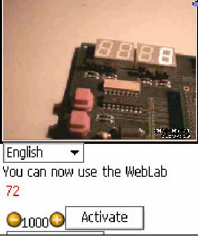 Figure 5: WebLab-FPGA from Opera Web Browser on a Nokia 6630