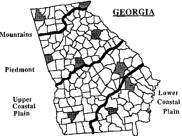 Map Of Georgia Physiographic Regions.Figure 1 From Changes In Landscape Patterns In Georgia Usa
