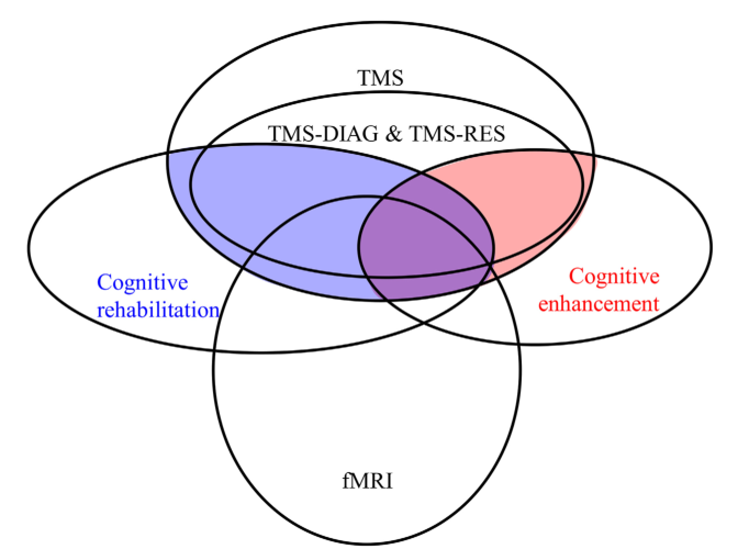 FIGURE 1 | Qualitative approximation of a larger context for CR- and CE-TMS. Topics are represented by ellipses with CR-TMS (filled blue) and CE-TMS (red) representing intersections of topics.