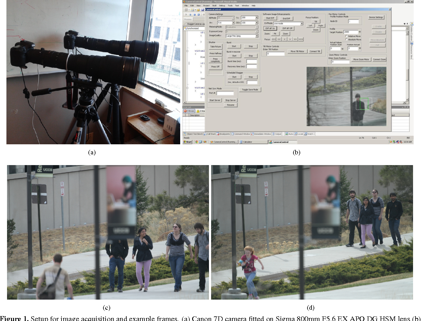 Figure 1. Setup for image acquisition and example frames. (a) Canon 7D camera fitted on Sigma 800mm F5.6 EX APO DG HSM lens (b) Screenshot of the GUI of software for capturing images. (c) and (d) example of image frames captured at the distance of approximately 100m and 150m respectively.