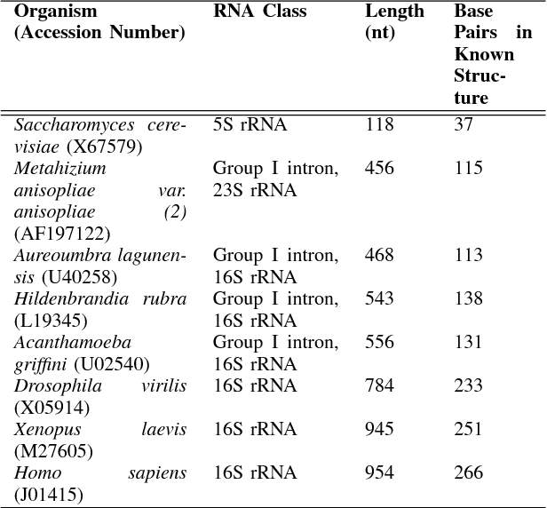 TABLE I RNA SEQUENCE DETAILS, TAKEN FROM THE COMPARATIVE RNA WEB SITE [31]