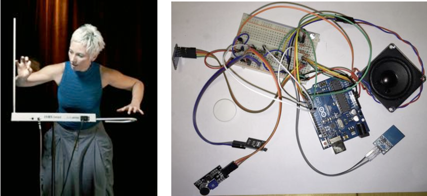 Figure 2. Theremin (left) and Arduino musical instrument (right).