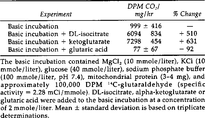 TABLE 2 Glutaraldehyde Oxidation By Rat Kidney Mitochondria