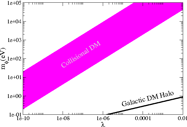 Figure 7. The constraints on mφ and λ coming from the different DM models. Shown with a dashed magenta area the allowed values for coming from the collisional DM model, while shown with a black region are the corresponding values as constrained from the measurement of the DM halo.