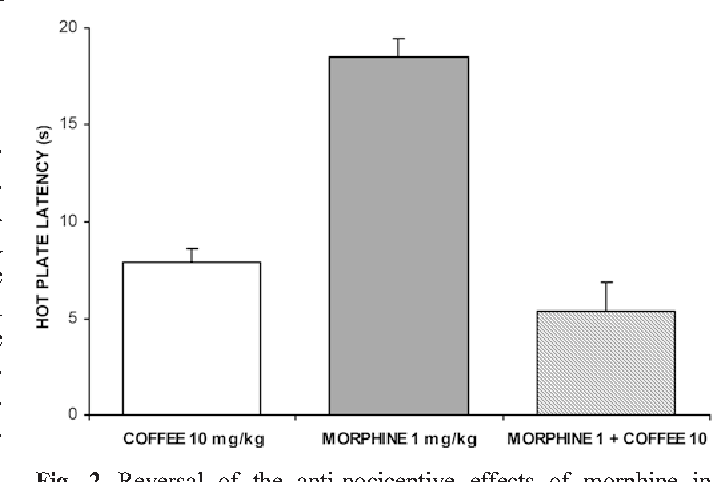 Fig. 2 Reversal of the anti-nociceptive effects of morphine in C57BL/6J mice after administration of decaffeinated instant coffee extract (10 mg/kg IP) containing 2.9% total cinnamoyl-1,5-quinides. Latency was measured as the time for each animal to exhibit any of five responses to the hot plate at 52°C (paw licking, lifting, or shaking, animal jumping or retreating). Coffee by itself was not significantly different (P=0.10) from the average effect of vehicle (10% Tween-80). Morphine (1 mg/kg IP) was given 15 min prior to treatment. The bars represent mean±SEM (n=8)
