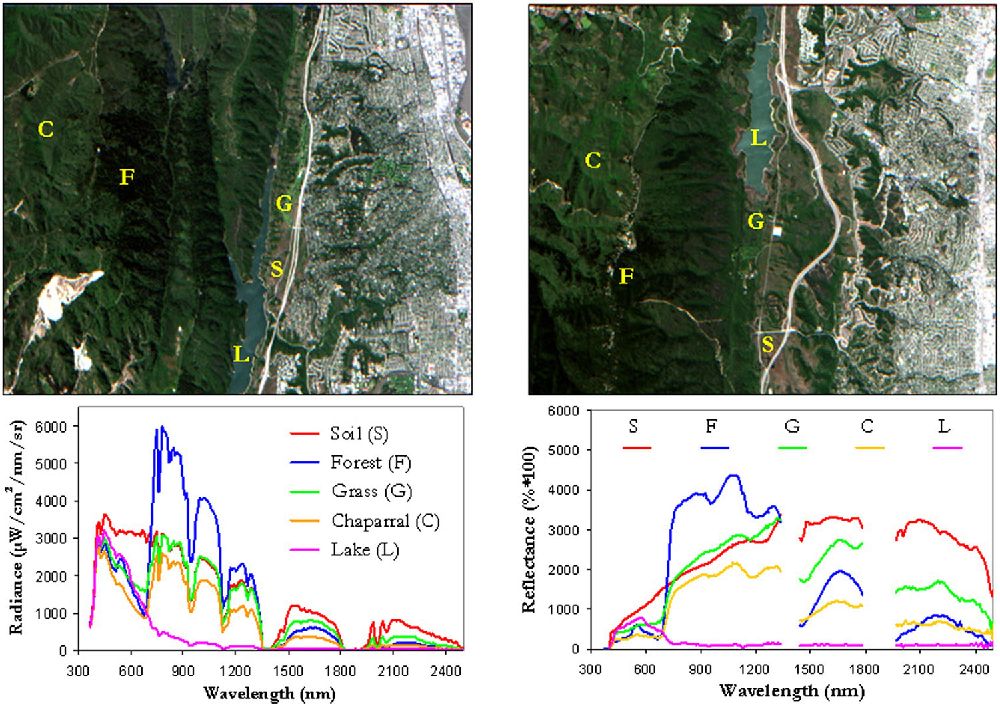 Fig. 9 AVIRIS hyperspectral images collected over Jasper Ridge Biological Preserve in radiance (left) and reflectance (right) units, along with the spectral signatures and spatial location of representative endmembers in the two considered scenes