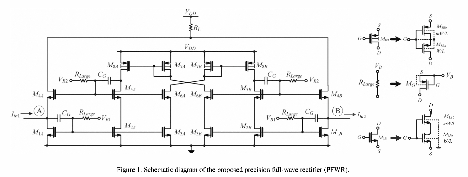 Figure 1 From A 05 V Quasi Floating Gate Self Cascode Dtmos Current Circuit Diagram Rectifier Schematic Of The Proposed Precision Full Wave Pfwr
