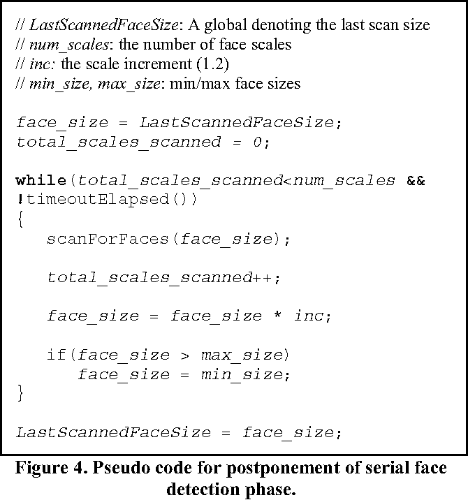 Figure 4. Pseudo code for postponement of serial face detection phase.