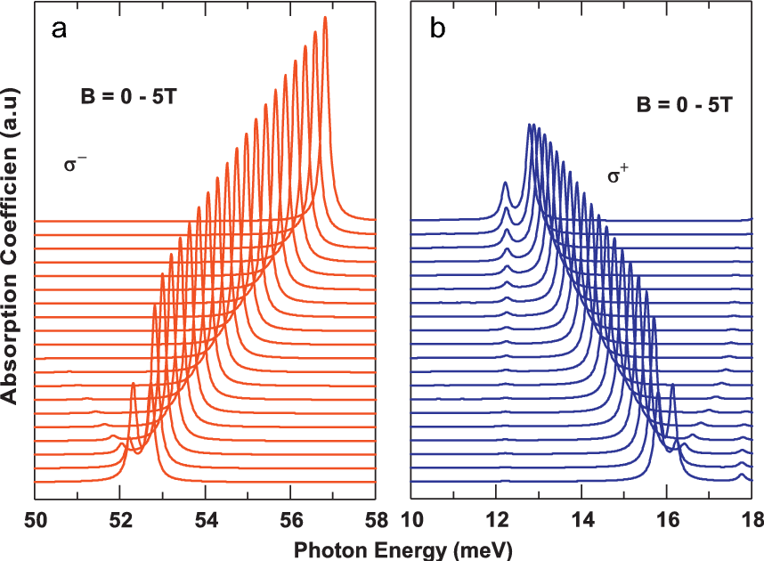 Fig. 3. Absorption coefficient as a function of the photon energy for several magnetic fields. (a) R ¼ 50 Å, R0 ¼ 15 Å and (b) R ¼ 100 Å, R0 ¼ 30 Å.