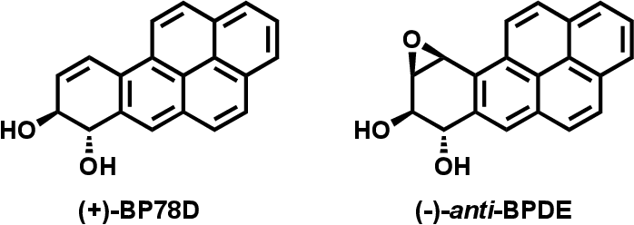 Figure 5.11 Chemical structure of (+)-benzo[a]pyrene-7S-trans-7,8-dihydrodiol [(+)- BP78D], which was used as a model compound of (-)-anti-BPDE in fluorescence quenching experiments.