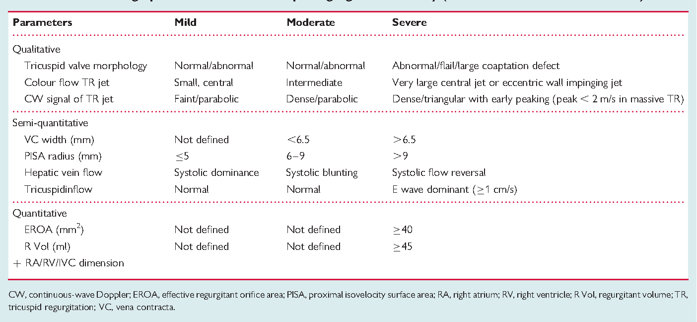 Table 2 Echocardiographic Assessment Of Tricuspid Regurgitation Severity Modified From Lancellotti Et Al 34
