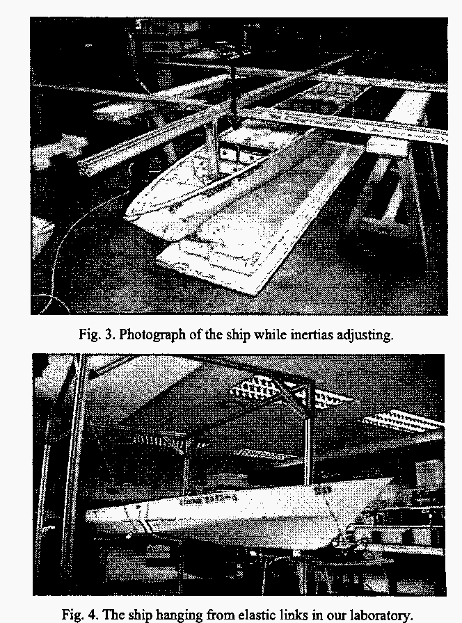 Fig. 3. Photogrnph of the ship while inertias adjusting.