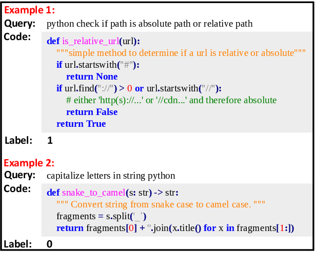 Figure 1 for CoSQA: 20,000+ Web Queries for Code Search and Question Answering