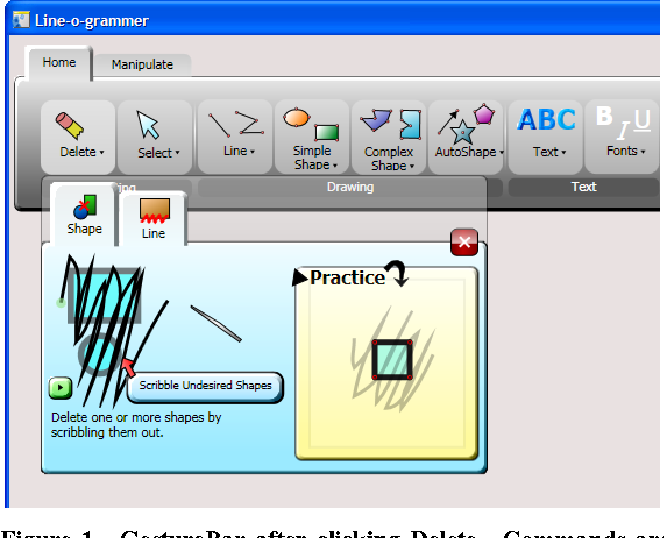 Figure 1. GestureBar after clicking Delete. Commands are not executed when clicked; rather the Gesture Explorer dropdown displays an illustrative animation with detail tips, a replay button, a text description and a practice area.