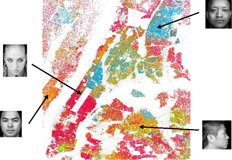 Fig. 1 Racial spatial segregation in New York City, based on Census 2000 data (Fischer 2011). One dot for each 500 residents. Red dots are Whites, blue dots are Blacks, green dots are Asian, orange dots are Hispanic, and yellow dots are other races