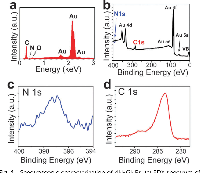 Fig. 4 Spectroscopic characterization of 4N-GNRs. (a) EDX spectrum of 4N-GNRs deposited on a gold substrate. (b–d) XPS spectra of 4N-GNRs deposited on a gold substrate: (b) survey spectrum, (c) N 1s spectrum and (d) C 1s spectrum.