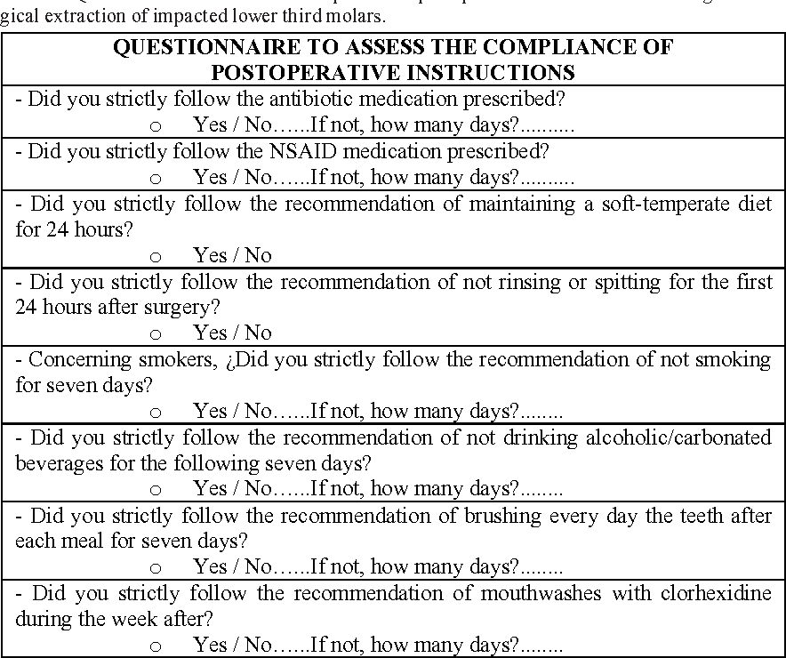 Compliance Of Postoperative Instructions Following The Surgical