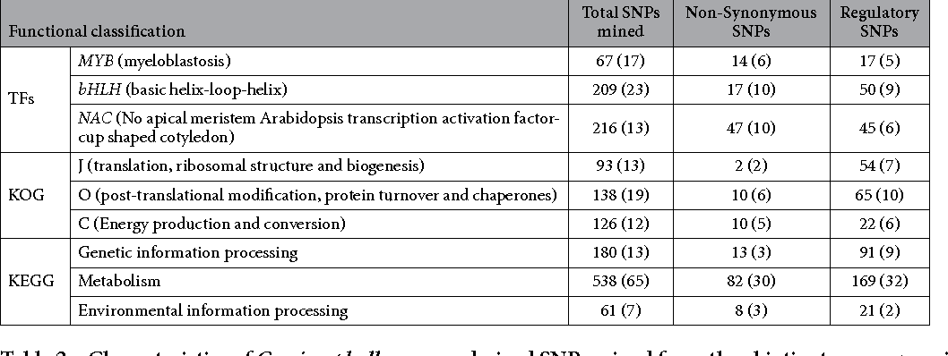 Table 2. Characteristics of C. microphyllum gene-derived SNPs mined from the abiotic stress-responsive genes of ICC 4958 representing different abundant functional classes. Parentheses indicate the number of genes with SNPs.