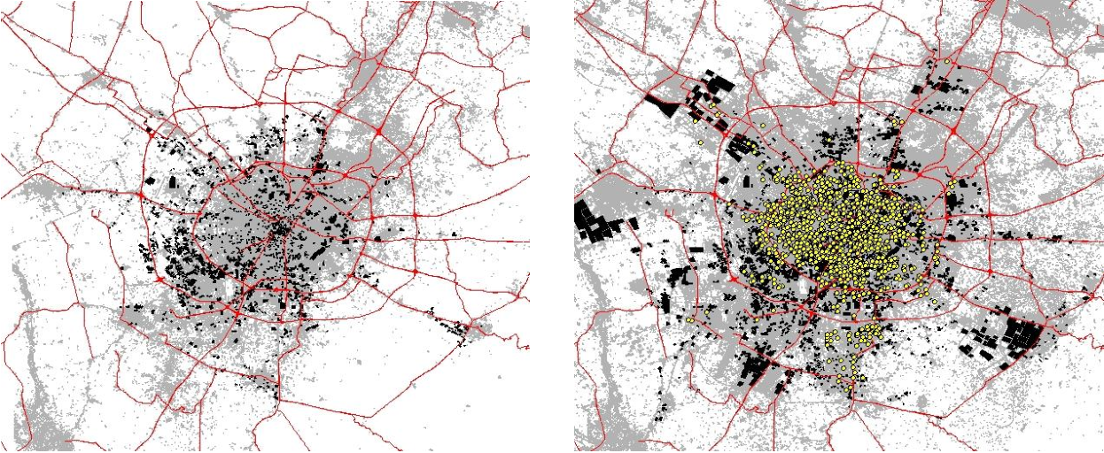 Figure 2. Maps of the urbanized area of Chengdu in 2000 and 2009 with non-residential land uses and residential transactions from 2004-2011