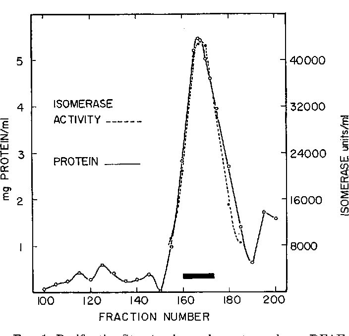 FIG. 1. Purification Step 4; column chromatography on DEAEcellulose at pH 7.6. The columnwas loadedwith 6.96 g of protein; the dark bar indicates the fractions pooled. See the text for details.