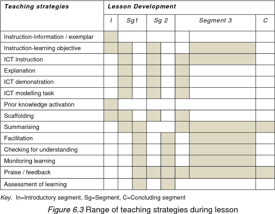 Figure 6.3 Range of teaching strategies during lesson